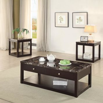 3 Pieces Coffee End Table Set With Marble Top And Drawers, Brown By Poundex