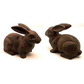 Cast Iron Rust Bunny Rabbit Door Stop