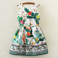 Lotus Print Sleeveless Pleated Dress