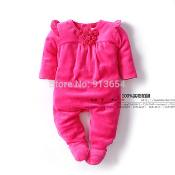 new 2015 spring autumn children clothing Boutique newborn infant velvet jumpsuits baby girls Long sleeve rose princess rompers