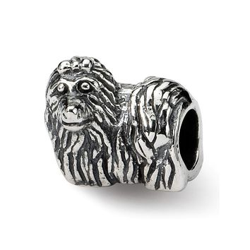 Yorkshire Terrier, Dog Charm in Silver for 3mm Charm Bracelets