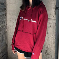 Champion New fashion bust letter print hooded sports leisure long sleeve sweater top Red