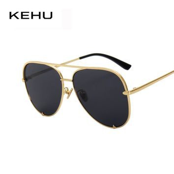 KEHU New Fashion Men Flat Lens Aviation Sunglasses Women Sun Glasses Metal Frame Eyewear K9101