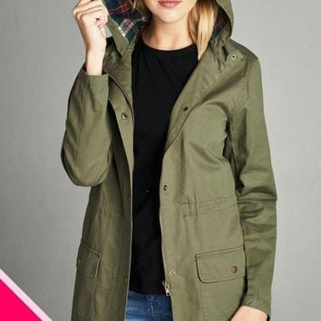 Ladies fashion plus size plaid hooded waist drawstring utility jacket