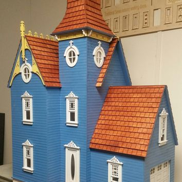 Hamlin Victorian Wooden Dollhouse kit with attached working garage 1:12 Scale