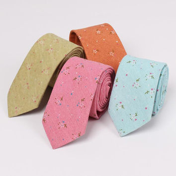 New Design 100% Cotton Ties For Men Vintage Printed Floral Slim Suit Necktie Party Skinny Ties