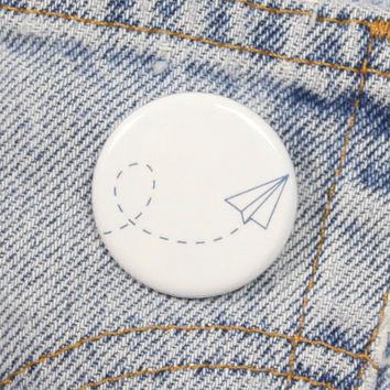 Paper Airplane 1.25 Inch Pin Back Button Badge