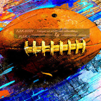 Artistic Football Art Print, Modern Sports Room Decor, Colorful Bedroom Wall Art Print, Mancave Decor, Football Artwork, Sports Art Deco