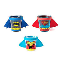 CAPED SHOT GLASSES - BATMAN, SUPERMAN, WONDER WOMAN