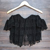 off the shoulder bohemian princess crochet top - black