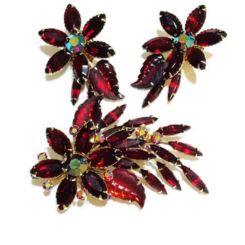 Vintage Red Rhinestone Set, Brooch, Earrings, Unsigned Judy Lee, Flower Spray, Navettes, Statement Jewelry, 1960s