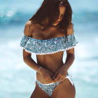 Print Lace Halter Beach Bikini Set Swimsuit Swimwear