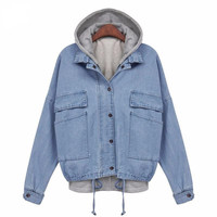 Hoodies Jacket Casual Women Outwear Denim Coat