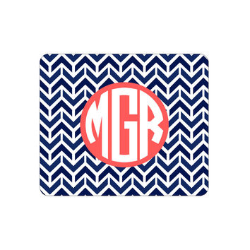 Navy Aztec Chevron Mouse Pad