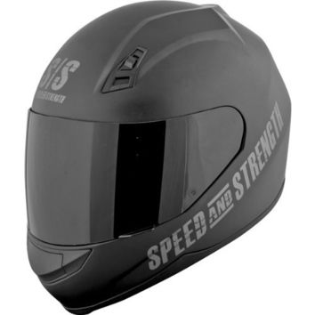 Speed and Strength Go For Broke Men's SS700 On-Road Racing Motorcycle Helmet - Black / Small