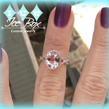 Morganite Engagement Ring 3.5ct Oval 14k Rose Gold Diamond Halo Twist Shank and Matching Band