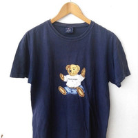 HOT SALE 1990's Vintage POLO Bear Ralph Lauren Baby Blue Hip Hop T Shirt Size S 90's