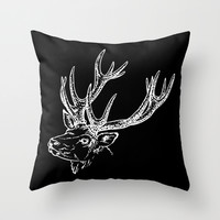 Deer Black White Throw Pillow by Beautiful Homes