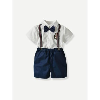 Toddler/Boys Bow Tie Shirt With Shorts