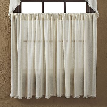 Tobacco Cloth Natural Fringed Tier Curtains 36""