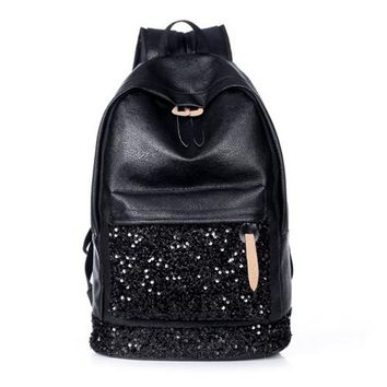 Big Crown Embroidered Sequins Backpack for Women