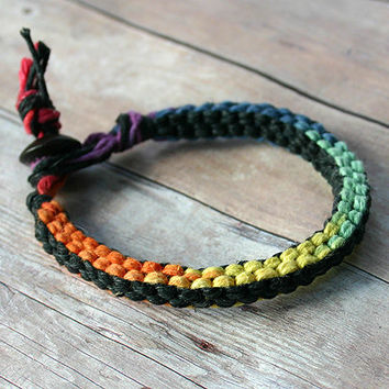 Surfer Macrame Hemp Bracelet Rainbow and Black Square Woven Knot  Bracelet