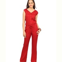 Cottinfab Red Casual Rayon Long Jumpsuits
