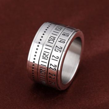 Free Custom Engraving 14mm Stainless Steel Silver Rotatable Spinner Rings with Arabic Numerals