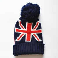Shop Women's The Union Jack Pattern Beanie Hat with Pom Pom D1117