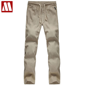 Mens Linen Pants Summer Style Joggers Solid Color Casual Loose Cotton and Linen sweatpants Trousers For Men