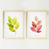 Nature wall art set, Home decor art prints, Green and pink leaves decor, Botanical art, 5x7 prints, Bathroom wall decor PRINTABLE wall art