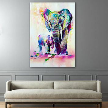 Elephant With Son Wall Art Canvas