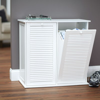 Tilt-out Cabinet Laundry Sorter with Shutter Front, White
