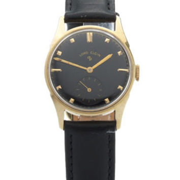 Lord Elgin Pre-Owned Mid-Size Watch - 14k Gold Case- Black Dial -Circa. 1950s