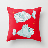 Red Fish Throw Pillow - Double Sided Throw Pillow - Faux Down Insert - Illustrated Pillow Cover