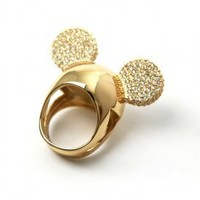 Disney Couture Jewelry - Minnie x Mawi: Encrusted Mnnie Ears Ring (Gold/Crystal) | 80's Purple