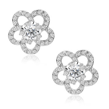 Flower W. Clear Cubic Zirconia Stud Earrings