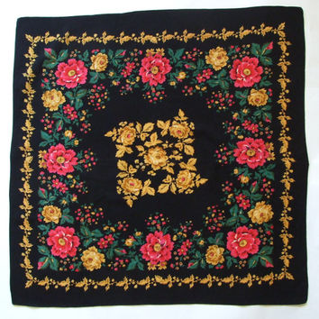 Vintage Black Shawl / Scarf Vintage Russian / Russia Floral square headscarf Roses  Folk Scarf / light wool / Babushka / pink, green, yellow
