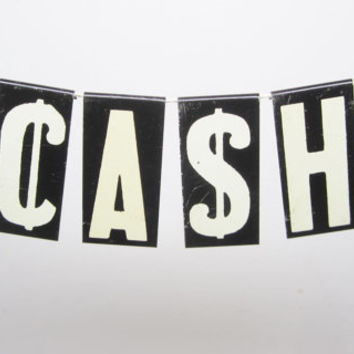 Vintage Metal Letter Sign CASH Word Sign Many Available Banner Black and White Signs Hanging Banner On String Banner Sign Metal Signs