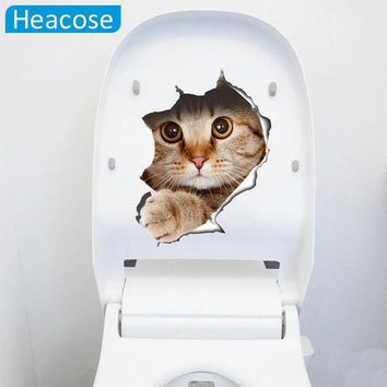 funny 3D cat Toilet sticker poster hole animal wall stickers for kids room bathroom dog muurstickers art home decor wallpaper