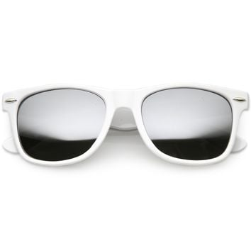 Large Classic Horned Rim Mirrored Lens Sunglasses C769