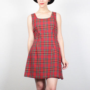 Vintage 90s Dress Mini Dress Red Plaid Tartan School Uniform Dress 1990s Dress Soft Grunge Dress Button Side Punk Dress M Medium L Large