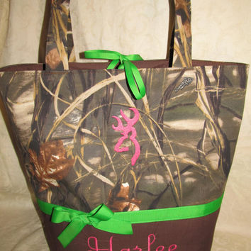 Custom Handmade advantage max 4hd camo diaper bag hot pink and lime browning buck inspired you choose name and accent color