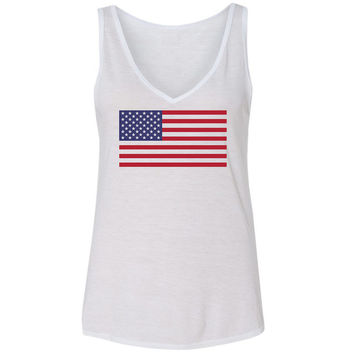 Ladies 'American Flag' Vneck Tank