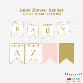 Editable Baby Shower Banner, Pink and Gold Baby Shower Decorations, Tassels, Girl Baby Shower Decor, DIY Baby Shower Banner, A to Z, TASPG