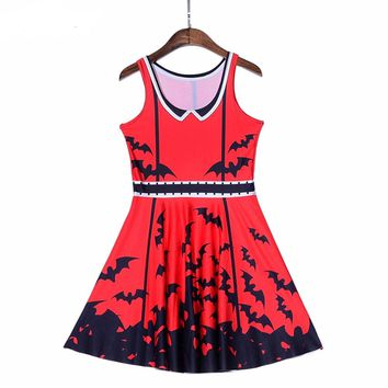 Halloween Fashion New Women Dress Digital Print Scarlet Black Bat Dresses Sleeveless Beach DRESS vestidos