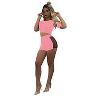 Pure Color Slim Crop Top with Shorts Two Pieces Set