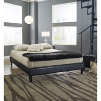 Full Size Modern Platform Bed Frame Upholstered in Black Faux Leather