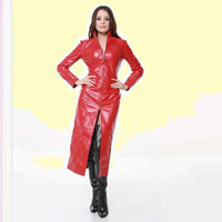 Matrix Trinity Trench Coat - Long Black Goth Faux Leather Latex also in Red