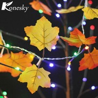 ONETOW 10 LED Fairy Night Lights Autumn Leaf Light Harvest Fall Leaves lamp Garland Lights String Decor